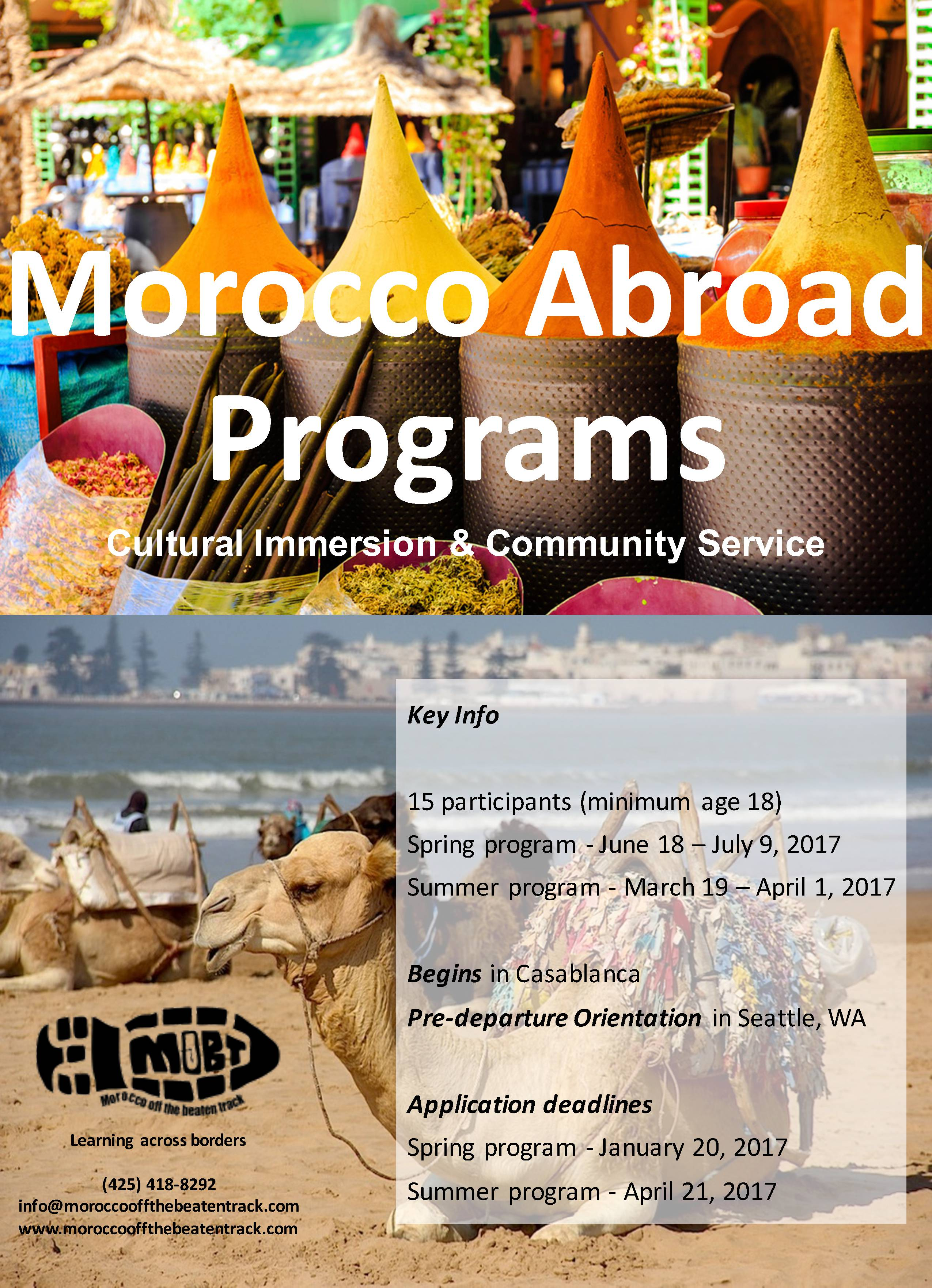 2017 Morocco Summer/Spring Programs are now available